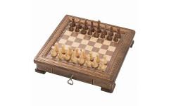 Шахматы резные Квадро в ларце с ящиками 50 Haleyan