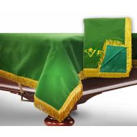 Чехол для б/стола 10-3 (зеленый с желтой бахромой, с логотипом)