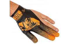 Бильярдная перчатка на левую руку черно-оранжевая, линейка аксессуаров Renzline, коллекция Renzo Longoni Player